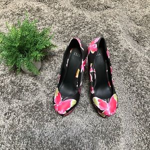 Elle Platform Black Floral Wedges
